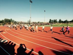 The start of the pre-race kids' 2k race