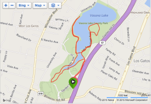 The Jenny's Light 5k race at Vasona Lake in Los Gatos, CA