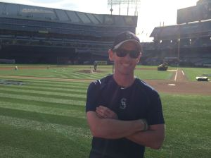 Ready to race! Right in front of home plate at the home of the Oakland A's