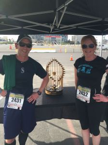 Race done! Hanging out with Selina and the 1969 A's World Series trophy