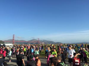 A tiny fraction of the crowd milling around before the start of the Presidio 10k race
