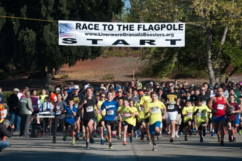 The start of the Race to the Flagpole 5k. I'm not sure why I was smiling...